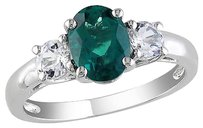 Sterling Silver 1.64 Ct Tgw Oval Emerald White Sapphire 3-stone Fashion Ring 925
