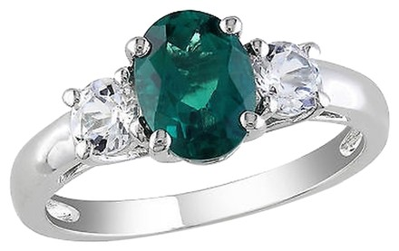 Other Sterling Silver 1.64 Ct Tgw Oval Emerald White Sapphire 3-stone Fashion Ring 925