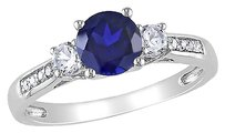 10k White Gold Diamond And 1 13 Ct Blue White Sapphire 3 Stone Ring Gh I2i3