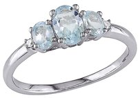 Other 10k White Gold Diamond And 1 Ct Sky Blue Topaz 3 Stone Ring Gh I2i3