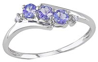 Other 10k White Gold Diamond And 13 Ct Tgw Tanzanite 3 Stone Ring Gh I2i3