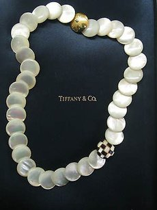 Tiffany Co 18kt Mother Of Pearl Onyx Necklace 18