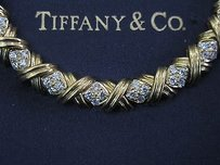 Tiffany Co 18kt Signature Diamond X Bracelet Yg 3.00ct