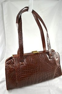 Other Titti Dellacqua Milano Alligator Handbag Brown Clutch