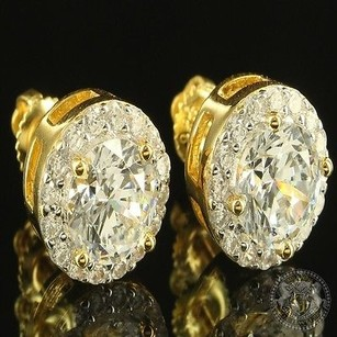 Other Tone Brilliant Cut Men Women Solitaire Tower Style Lab Diamond Silver Earrings