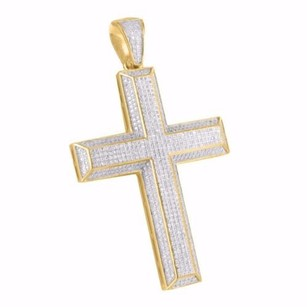 Tone Yellow Gold Finish Iced Kit Kat Bar Style Latin Cross Pendant In Silver