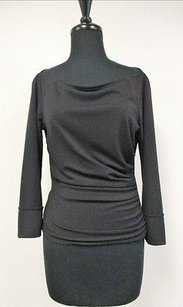 Tahari Solid 34 Sleeve Top Black