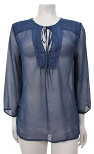 Other Corey By Corey Lynn Calter Ink Embroidered Neck Sheer Top Blue