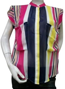 Thml Striped Sheer Sleeveless Top Multi-Color