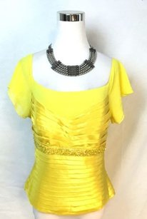 Other Tolentino Beaded Silk Top Yellow