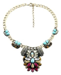 Tortoise Taupe Multi Color Stone Statement Necklace