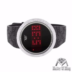 Touch Screen Mens Watch 14k White Gold Tone Simulated Diamonds Bezel Water Proof