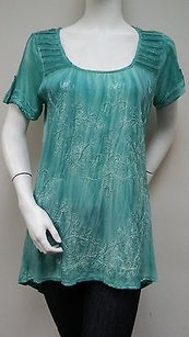 Other Lola P Aqua Scoop Neck Embroidered Short Sleeve Tunic