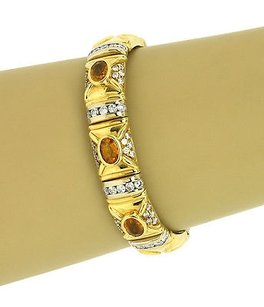 Two Tone 18k Gold 3.4 Cts Diamonds Cts Citrine Ladies Bangle Bracelet
