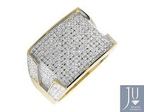 Two-tone Gold Finish Contour Rectangle Wide Diamond Pinky Exclusive Ring 0.30ct.