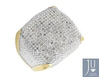 Two Tone Gold Finished Contour Square Wide Diamond Pinky Exclusive Ring 0.85ct.