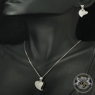 Other Unique 14k White Gold On Silver Lab Diamond Heart Earring Pendant Chain