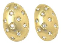 Other Unique 18k Yellow Gold 3ctw Flush Set Diamond Egg Shape Stud Earrings Omega Back