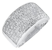 Unisex 10k White Gold 12mm Wide Wedding Band And Mens Pinky Ring 1.50ct