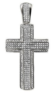 Unisex 10k White Gold Pave 3d Genuine Diamond Cross Charm Pendant 1.2ct 2.3