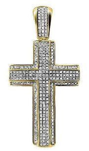 Unisex 10k Yellow Gold Pave 3d Genuine Diamond Cross Charm Pendant 1.2ct 2.3