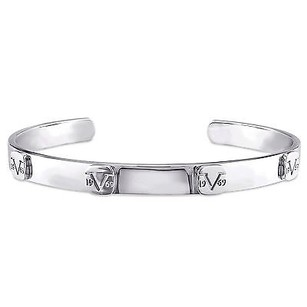 Other Versace 19.69 Abbigliamento Sportivo Silver Raised Logo Bangle Bracelet