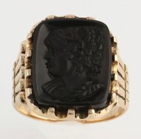 Other Victorian Cameo Fashion Ring - 9k Yellow Gold Genuine Black Onyx Carved Antique