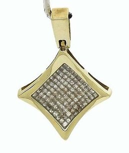 Vintage 14k Yellow Gold 3ctw Invisible Set Princess Cut Diamond Pendant