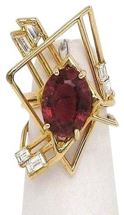 Other Vintage 14k Yellow Gold 7.0ctw Diamond Pink Tourmaline Unique Design Ring