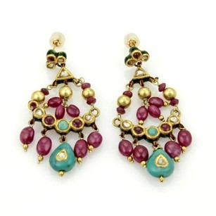 Vintage 22k Yellow Gold Rubies Turquoise Enamel Chandelier Earrings
