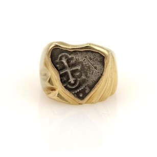 Other Vintage Antique Style Silver Coin 14k Yellow Gold Odd Shape Ring 8.75