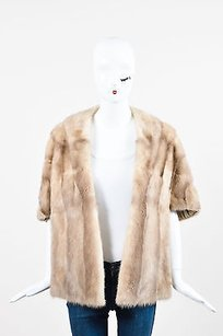 Vintage Beige Tan Taupe Fur Cropped Open Front Shawl Topper