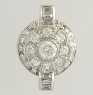 Other Vintage Diamond Pendant - 14k White Gold Round Flower Natural Womens 1.30ctw