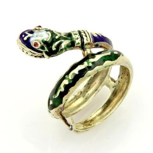 Vintage Enamel Ruby Coiled 14k Yellow Gold Snake Ring