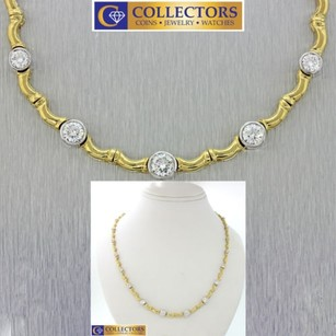Vintage Estate 18k Solid Yellow White Gold 4.00ct Diamond Tennis Necklace