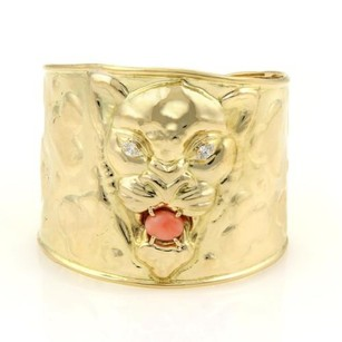 Vintage Marquise Diamonds Coral Panther Face 53mm Wide Cuff Band Bracelet