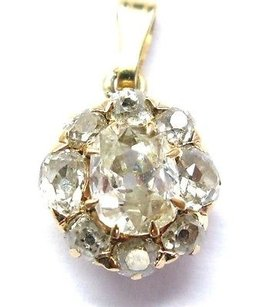 Other Vintage Old Mine Cut Diamond Yellow Gold Soitaire W Accent Pendant .88ct Jvs-si