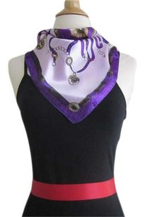 Other Violet Square Silk Satin Scarf Geometric Print Handbag Tie