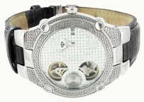 Diamond Aqua Master Watch White Mechanical Dial Black Leather Strap Jojino Jojo