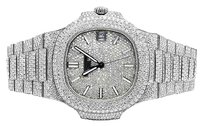 Mens Patek Phillipe Nautilus 57111a Steel Pave Set Vvs Diamond Watch 26.5 Ct