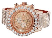 Other Mens Jewelry Unlimited Rose Gold Simulated Hip Hop Diamond Watch 48mm Br-04