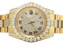 Other Mens Yellow Gold Plated Steel Jewelry Unlimited 41mm Simulated Diamond Watch