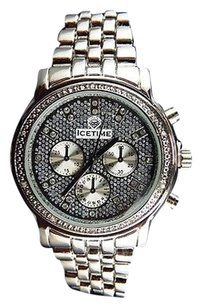 Unisex Genuine Diamond Icetime Marquis Watch Ma-09 In White Gold Finish .10 Ct