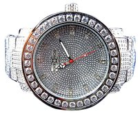 Men White Iced Out Bezel Icy Band Khronos Jojino Joe Rodeo Genuine Diamond Watch