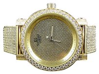 Men Yellow Finish Rocky Bezel Diamond Maxx Lab Diamond Techno Kc Joe Rodeo Watch