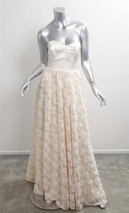 Cecilie Melli Ivory Silk Bridal Floral Embroidered Strapless A-line Gown