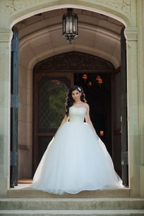 Gorgeous Custom Made Pearl Corset White Ball Gown Wedding Dress