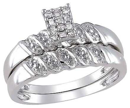 Other Sterling Silver 110 Ct Round And Parallel Baguette Diamond Bridal Set Ring