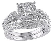 Other Sterling Silver 15 Ct Diamond Tw Geometric Bridal Set Ring Gh I2i3
