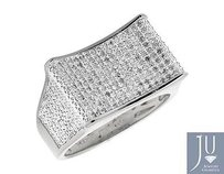 Other White Gold Finish Curved Rectangle Wide Diamond Pinky Exclusive Ring 0.50ct.